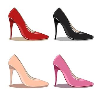 여성 높은 스파이크 유행 신발 세트