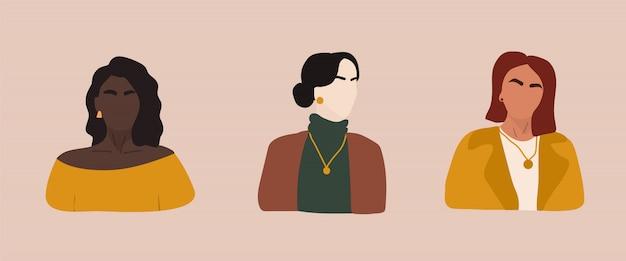 女性の形状とレトロなシルエットのセット