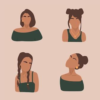 女性の形とシルエットのセット