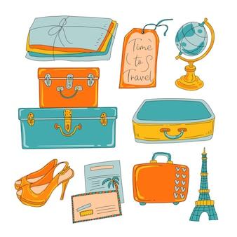 여성 여행자 아이콘 만화 세트