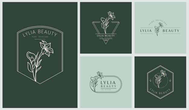 Набор женских логотипов с листьями и цветами в простом минималистичном линейном стиле