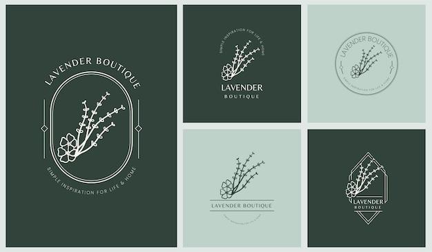 단순한 최소 선형 스타일의 잎과 꽃이 있는 여성용 로고 세트