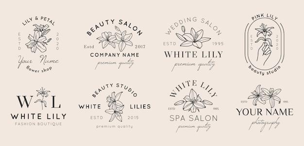 シンプルな最小限の線形スタイルのユリの花とフェミニンなロゴのセット。ビューティーサロン、スパ、ウェディングブティック、写真家、ファッションストア、フラワーショップのベクトル花のエンブレムとアイコン