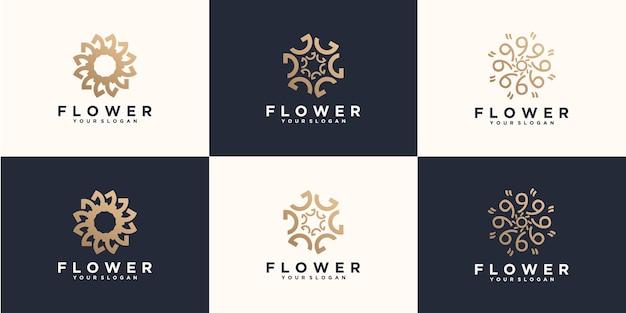 Набор женских роскошных модных цветочных логотипов в абстрактном линейном стиле