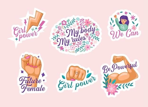 フェミニズムステッカーのセット、女性の手のショーの筋肉を持つ孤立したアイコン、上げられた握りこぶし、私たちはモットー、姉妹国際統一、性差別の概念と戦うことができます。漫画のベクトル図
