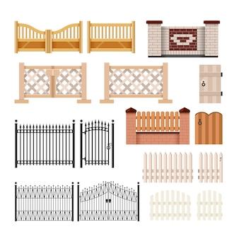 フェンスのセット-白い背景の上のモダンなベクトルの現実的な孤立したクリップアート。さまざまな構造、材料、色の門。金属鍛造、石とレンガの石積み、改札付きの木製の生け垣
