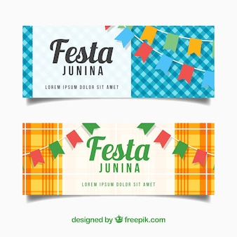 Set of festa junina banners with buntings