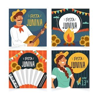 축제 junina 카드 세트