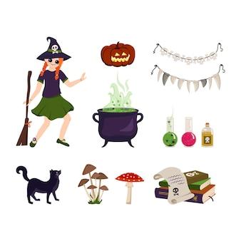 ほうきの大釜と材料とハロウィーンの赤い髪の少女魔女のためのお祝いの要素のセット...