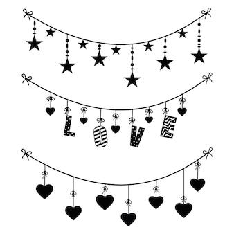 お祝いの花輪、黒いステンシルの装飾装飾のセット