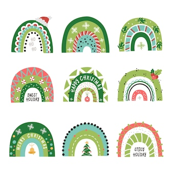 Набор праздничных радуг. клипарты для дизайна новогодних открыток для детей, комнаты, одежды.