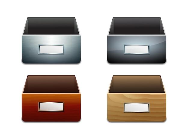 ドキュメントのファイルキャビネットのセット。金属と木製の箱。