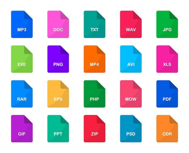 Набор значков форматов файлов значки типов файлов формат документов и расширение файлов для пользовательского интерфейса