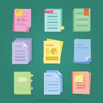 Set of files in flat design