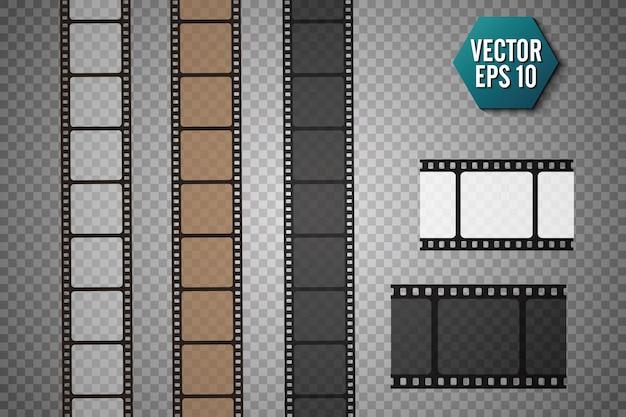 透明な背景に分離されたフィルムストリップのセット。