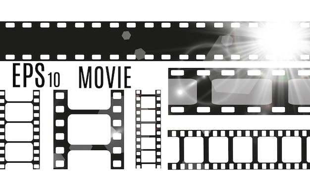 透明な背景に分離されたフィルムストライプのセット。フィルムストリップロール。映画館の背景。