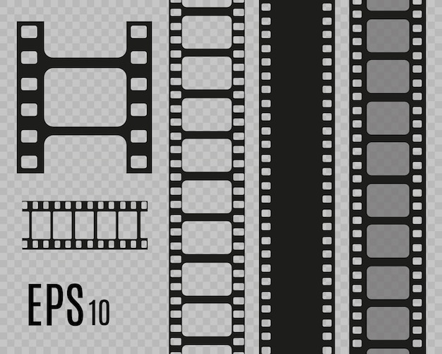 투명 한 배경에서 분리하는 영화 줄무늬의 집합입니다. 필름 스트립 롤입니다. 영화 배경.