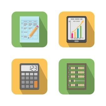 금융 비즈니스 도구 아이콘 세트