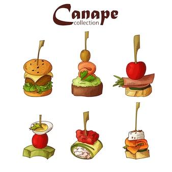 フィンガーフード要素のセットです。カナッペと食欲をそそるスケッチスタイルでスティックで提供しています。ケータリングサービステンプレート。図