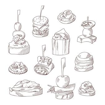 Набор элементов питания пальцем. канапе и закуски подаются на палочках в стиле эскиза. шаблон общественного питания. иллюстрация