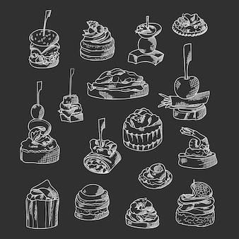 Набор элементов питания пальцем. канапе и закуски подаются на палочках в стиле эскиза. шаблон общественного питания. векторная иллюстрация