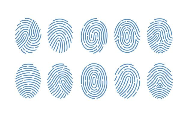 흰색 배경에 고립 된 다양 한 종류의 지문 집합입니다. 인간 손가락의 마찰 융기 흔적. 법의학의 방법, 개인 식별. 흑백 그림