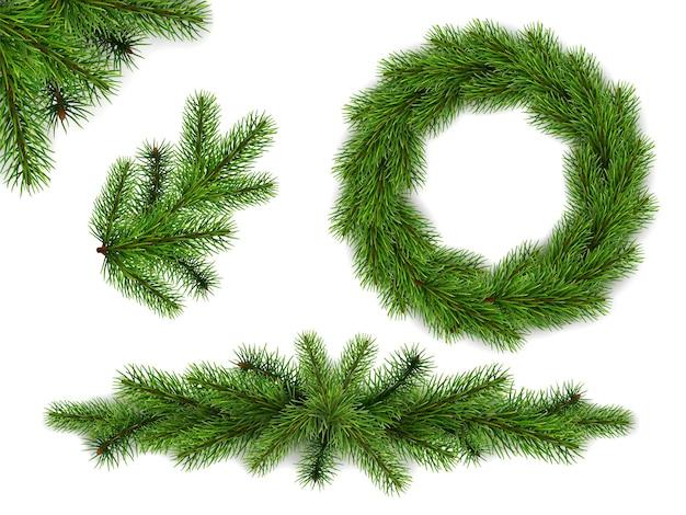 モミの木の枝と花輪のセットです。クリスマスと年賀状の現実的な要素。