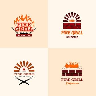 불 바베큐 그릴 로고 디자인 서식 파일 세트