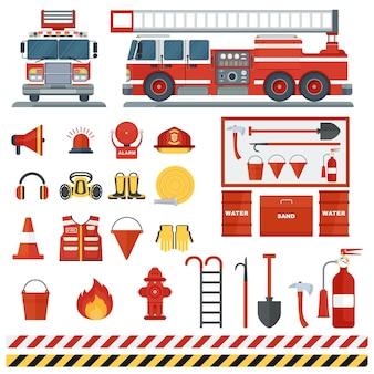 Набор пожарного оборудования векторные инструменты пожарного человека плоское мультяшное пожарное оборудование