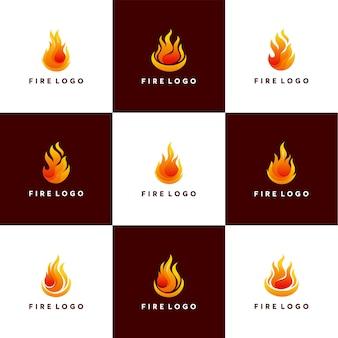 火炎ロゴデザインベクトルテンプレートのセットです。抽象的な3dエレガントな火の要素のロゴ