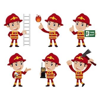 ポーズの異なる消防士のセット