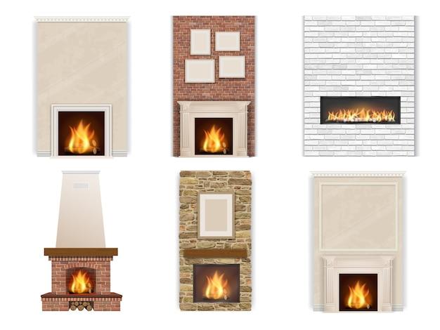 火と薪と白い背景の上の暖炉のセットです。インテリアの要素。