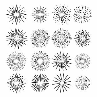 흰색 배경에 불꽃 놀이 손의 집합입니다. 삽화.