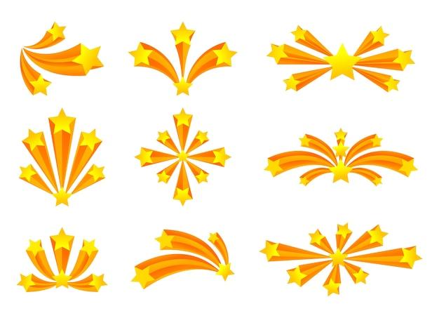 金色の星とさまざまな形の花火のセットです。白い背景のイラスト。