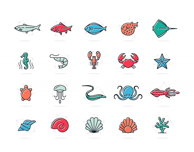 Набор рыб и морепродуктов цветные значки линии. креветки, устрицы, кальмары, крабы и многое другое.