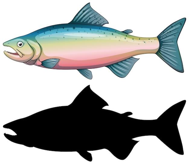 魚のキャラクターとそのシルエットの白い背景のセット