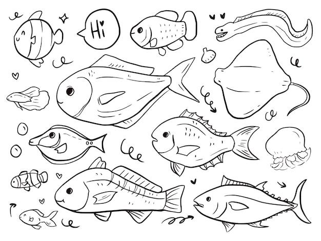 Набор рыб каракули рисования мультфильма для детей и печати
