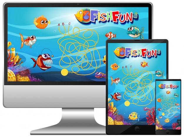 コンピューター画面上の魚ゲームのセット