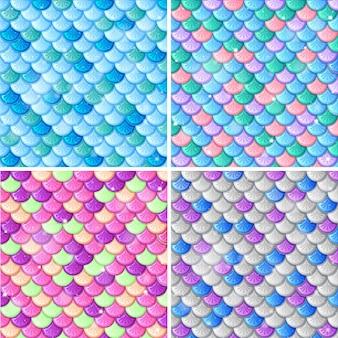 魚の鱗のシームレスなパターンの背景のセット