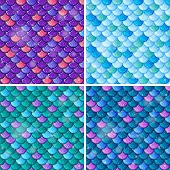 물고기 규모 원활한 패턴 배경 세트