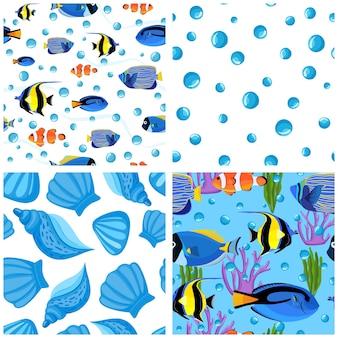 거품과 조개가 있는 수중 물고기 세트. 해저 완벽 한 패턴입니다. 아이 배경. 섬유 직물 또는 책 표지, 월페이퍼, 디자인, 그래픽 아트, 포장용 물고기 패턴
