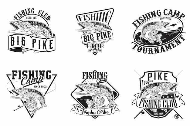 Набор дизайнов старинных эмблем рыболовного клуба Premium векторы