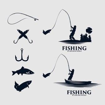 釣りのロゴデザインのセット