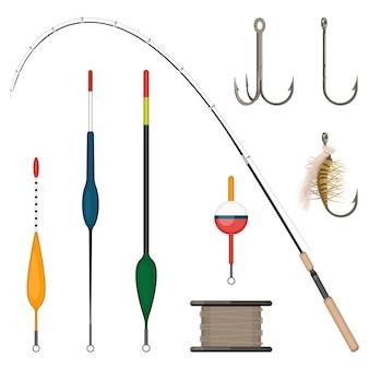釣りのセットは、白い背景で隔離のカラフルなアイコンに取り組みます。浮きとフック、釣り竿とリールのベクトル図