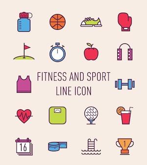 フィットネスとスポーツのカラフルなラインのアイコンのセット