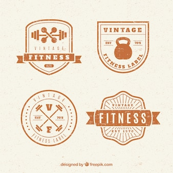 Set of fitness badges in vintage style