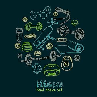 Набор иконок эскиза фитнеса бодибилдинга и здравоохранения