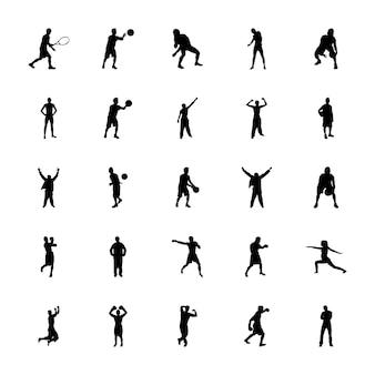 Набор фитнес-упражнений силуэты векторов