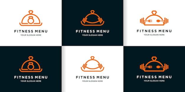 ラインスタイルのフィットネスフードメニューのロゴデザインのセット