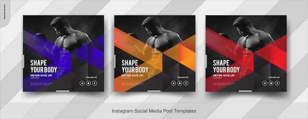 Набор фитнеса инста пост в социальных сетях пост шаблона дизайна